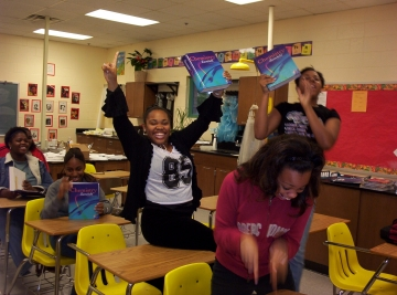 Uploaded Image: AP Chemistry students showing off books fellow purchased Tri-Cities 2004.jpg